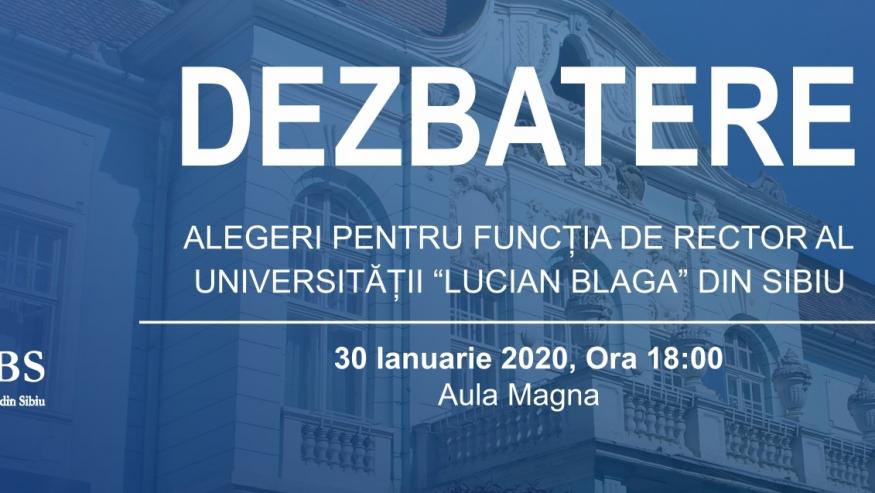 Dezbaterea candidaților pentru funcția de rector al ULBS