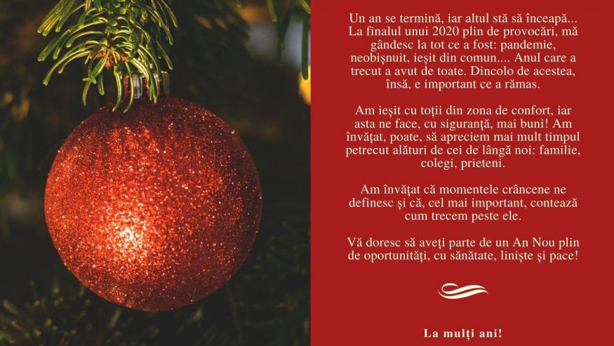 Mesajul Rectorului cu ocazia Sfintei Sărbători a Nașterii Domnului și a Anului Nou