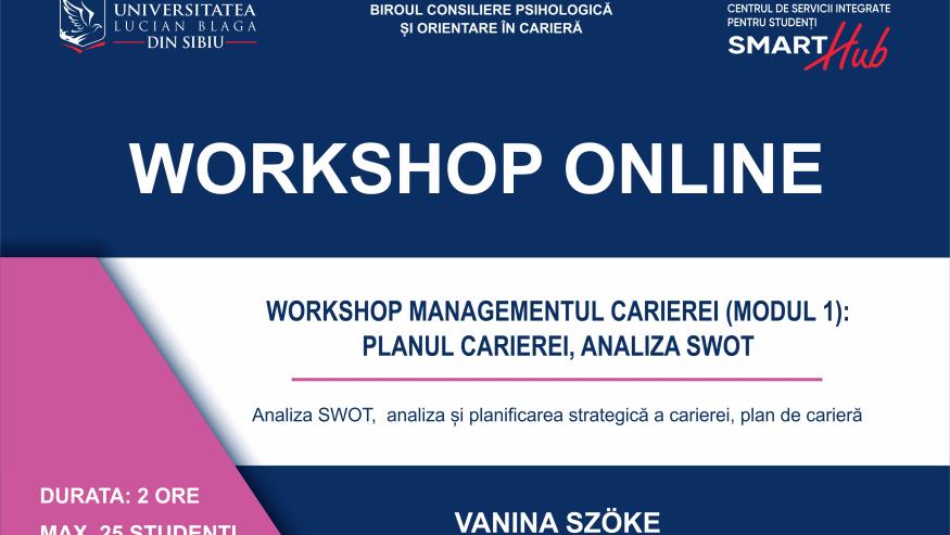 SmartHub – Workshopuri online pentru dezvoltarea unor competențe cerute pe piața muncii.