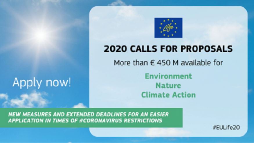 LANSAREA NOULUI APEL DE PROPUNERI DE PROIECTE PENTRU PROGRAMUL LIFE AL UNIUNII EUROPENE – 2020