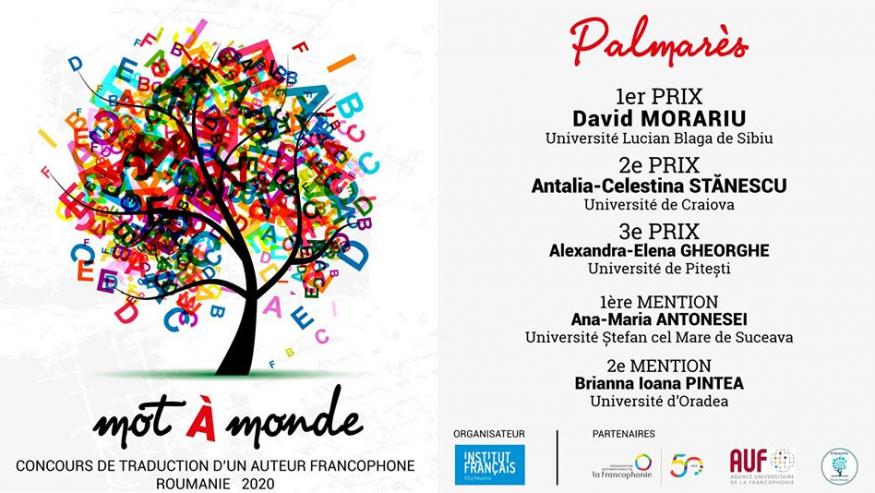 Premiul I la Concursul național de traduceri literare Mot-à-monde